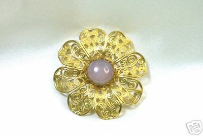 Gorgeous Filagree Flower Brooch with Rose Quartz Center