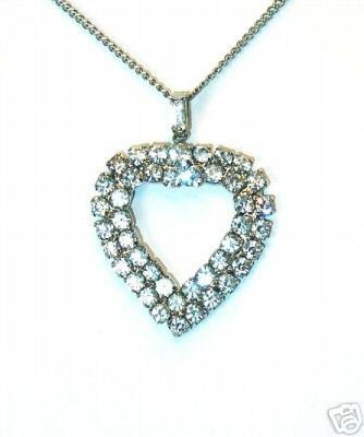 Sparkly Valentine's Double Rhinestones Heart Pendant