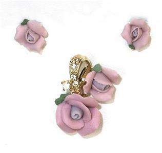 Beautiful Lavender Porcelain Rose Blossoms Demi-Parure