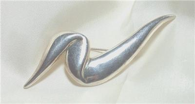 Vintage PREMIER DESIGNS Silvertone Abstract Ribbon Pin