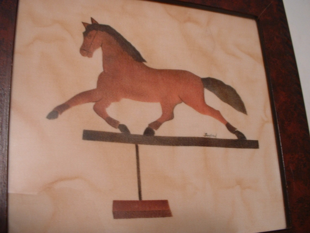 Vintage Folk Art Horse Framed and Ready to Hang