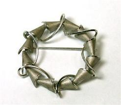 """Delicate Sterling Abstract Circular Curtis """"dce"""" Brooch - $19.00"""