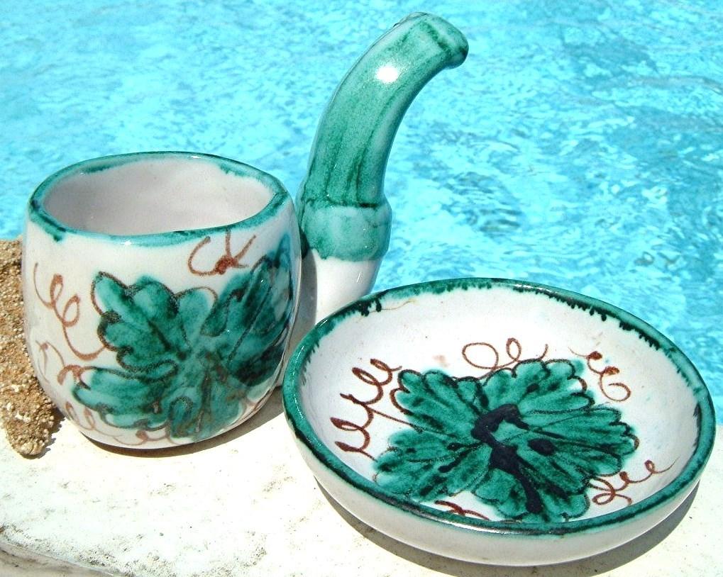 Vintage miniature demitasse cup saucer italy smoking pipe
