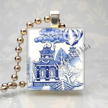 BLUE WILLOW PATTERN - Scrabble Tile Art Pendant Charm