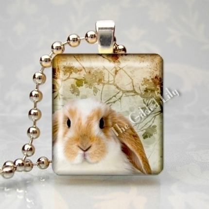 BUNNY RABBIT LOP EARED Scrabble Tile Art  Pendant Charm