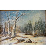 Vintage Oil Painting Winter Landscape by Artist Sydney Davy - $100.00