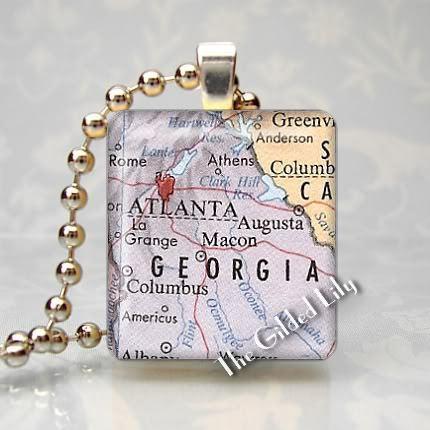 GEORGIA - ATLANTA AREA MAP Scrabble Tile Pendant Charm