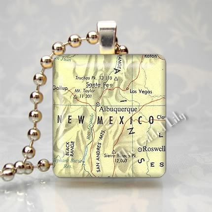 NEW MEXICO ALBUQUERQUE AREA MAP Scrabble Pendant Charm