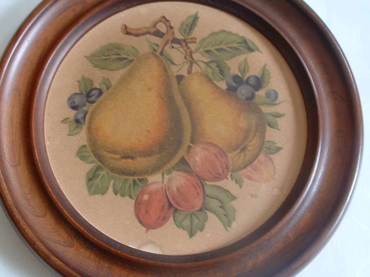 Vintage Wall Hanging Kitchen Art Pears and Blueberries