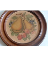 Vintage Wall Hanging Kitchen Art Pears and Blueberries - $15.00