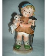 Vintage Large Ceramic Figurine Girl Holding a Lamb - $15.00