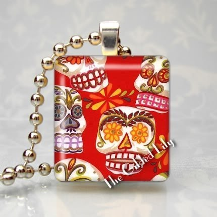 SUGAR SKULLS - DAY OF THE DAED - Scrabble Pendant Charm