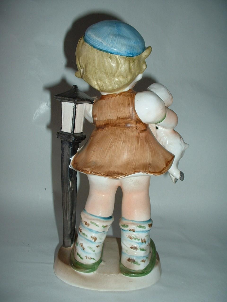 Vintage Large Ceramic Figurine Girl Holding a Lamb