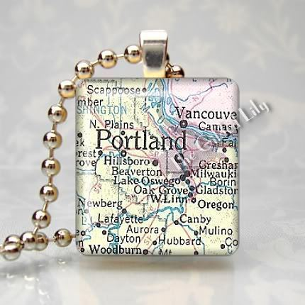OREGON - PORTLAND AREA MAP Scrabble Tile Pendant Charm