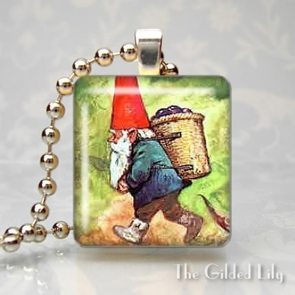GARDEN GNOME - ELF Scrabble Tile Art Pendant Charm