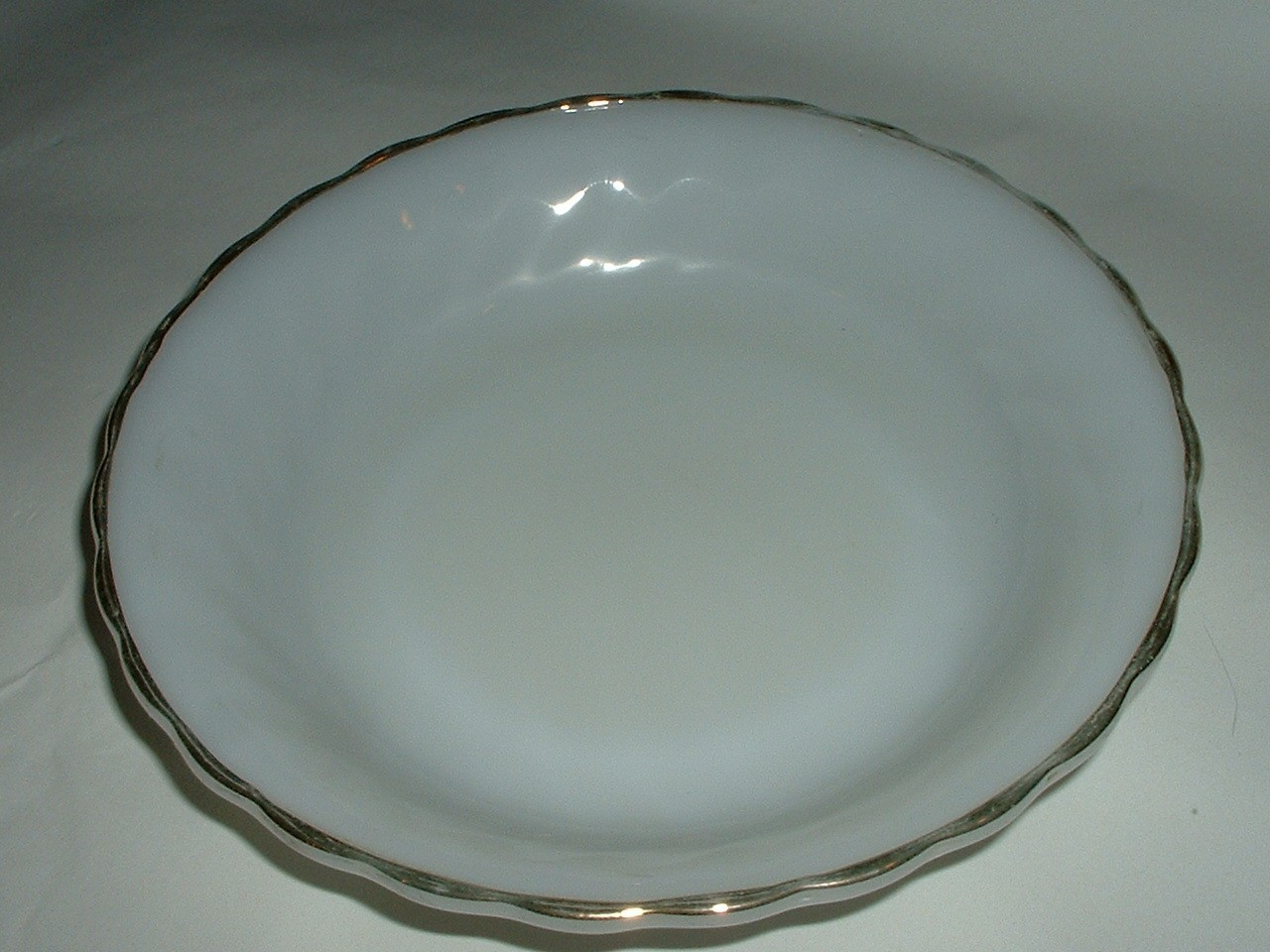 Vintage Fire King Glass Pie Pan with Old Marks