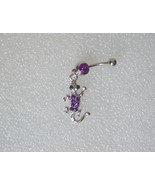 Alligator Belly Button Ring Purple Crystal 316 Surgical Steel - $5.00