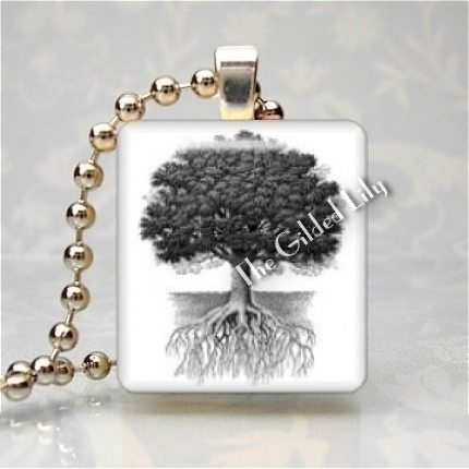 TREE ROOTS OF LIFE Scrabble Tile Art Pendant Charm