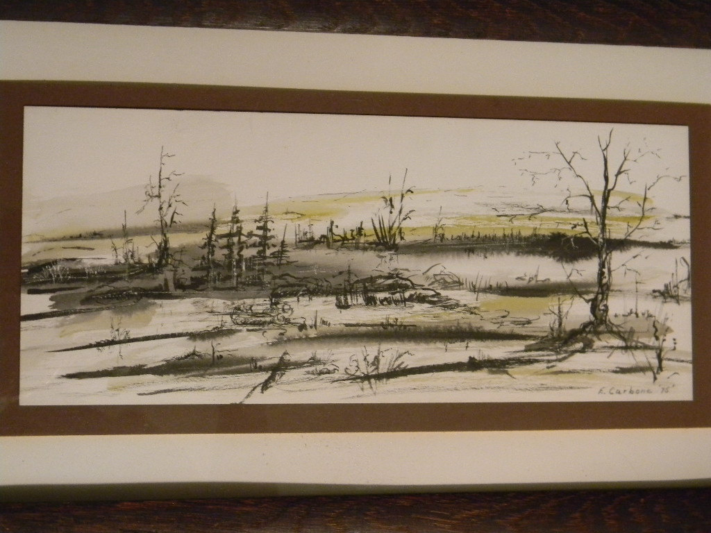 Vintage Painting / Drawing Landscape by Artist Carbone