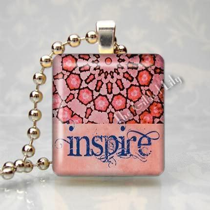 INSPIRE - INSPIRATIONAL WORD Scrabble Art Pendant Charm