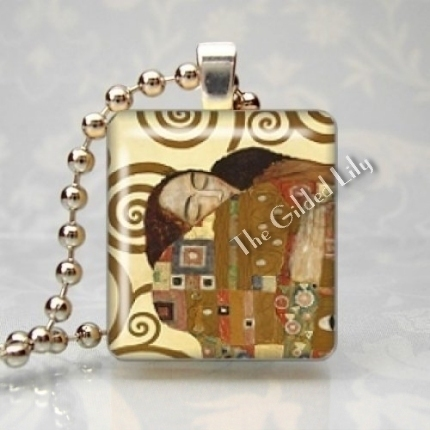 KLIMT - FULFILLMENT Scrabble Tile Art Pendant Charm