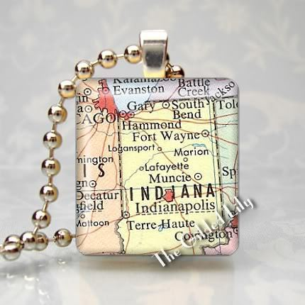 INDIANA - INDIANAPOLIS AREA MAP Scrabble Pendant Charm
