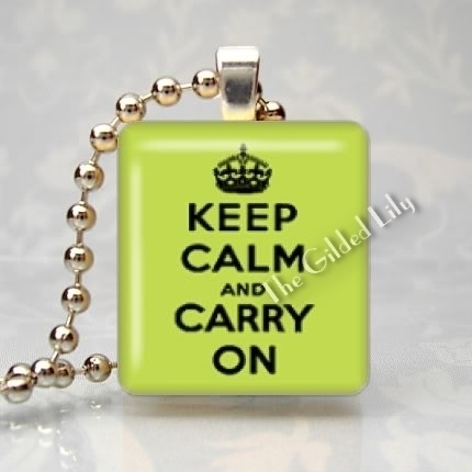 KEEP CALM AND CARRY ON - LIME GREEN Scrabble Pendant
