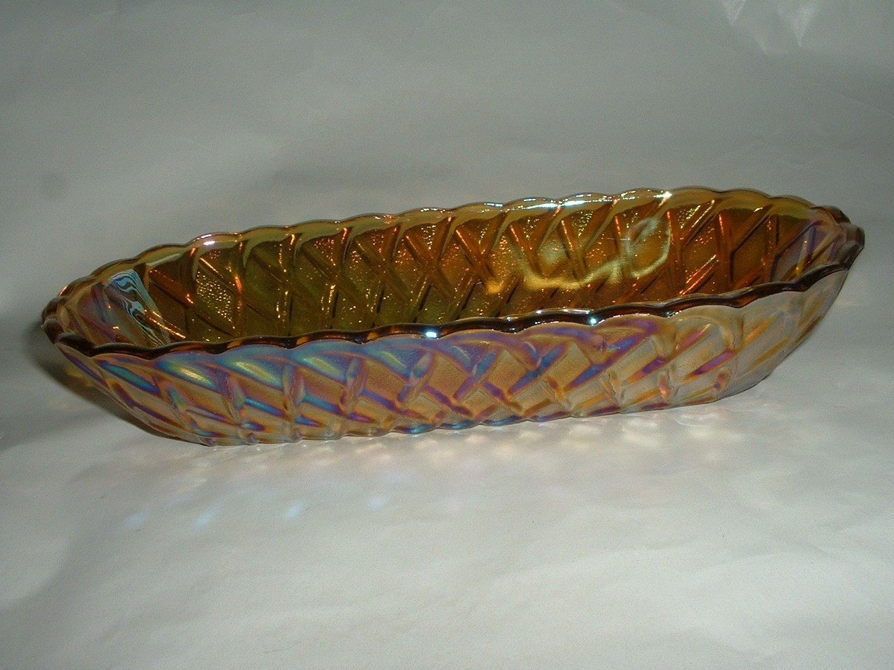Vintage Carnival Glass Oblong Bowl Celery Dish
