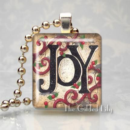 JOY - INSPIRATIONAL WORD Rustic Prim - Scrabble Pendant