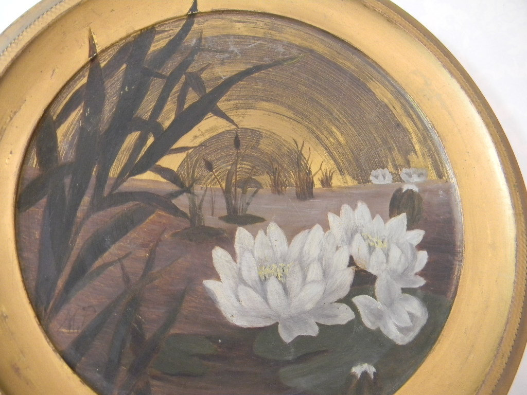 Vintage Original Painting on Metal Waterlilies & Reeds signed MP
