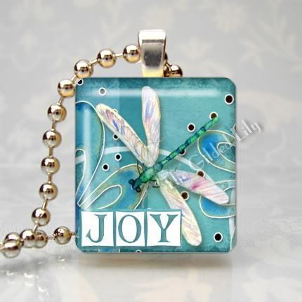 JOY INSPIRATIONAL WORD & DRAGONFLY Scrabble Art Pendant