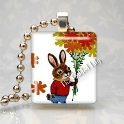 LITTLE FOO FOO BUNNY RABBIT Scrabble Tile Pendant Charm