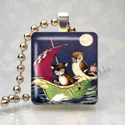 THE OWL AND THE PUSSYCAT Scrabble Tile Pendant Charm