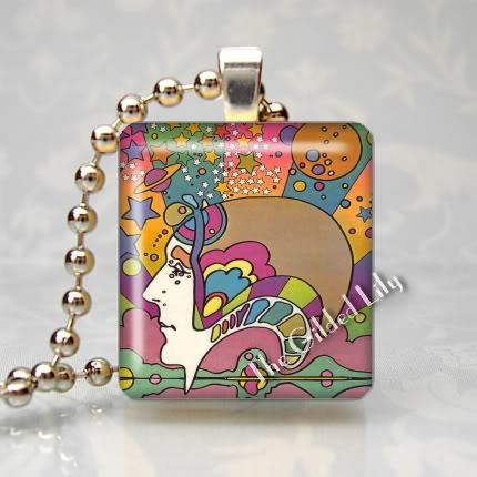PSYCHEDELIC POP ART HEAD Scrabble Tile Pendant Charm