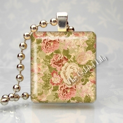 FADED SHABBY ROSES FLOWERS Scrabble Tile Pendant Charm