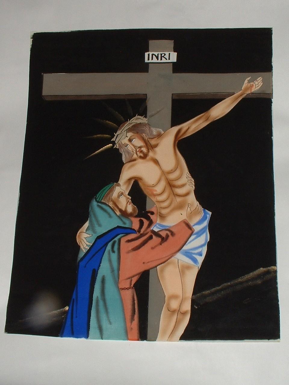 Vintage Original Religious Painting on Silk