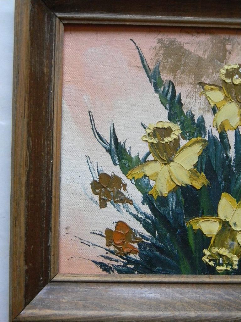 Vintage Oil on Canvas Still Life Daffodils