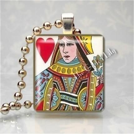 QUEEN OF HEARTS CARD Scrabble Tile Art Pendant Charm