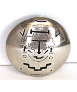 Vintage Sterling Mexico Aztec Brooch Mayan Face Pierced Eagle mark - $39.00