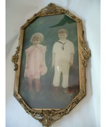 Vintage Hand Colored Cutest Kids Photo in Oval Metal Frame with Bubble G... - $175.00