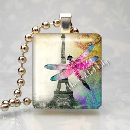 EIFFEL TOWER & DRAGONFLY - Scrabble Tile Pendant Charm