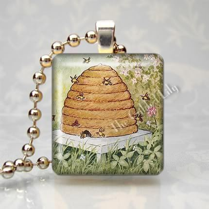 HONEY BEES AND BEEHIVE Scrabble Tile Art Pendant Charm