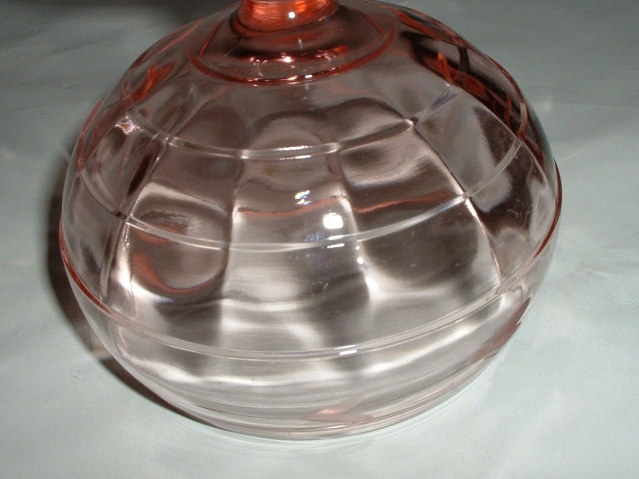 Vintage Pink Depression Glass Footed Etched Candy Bowl