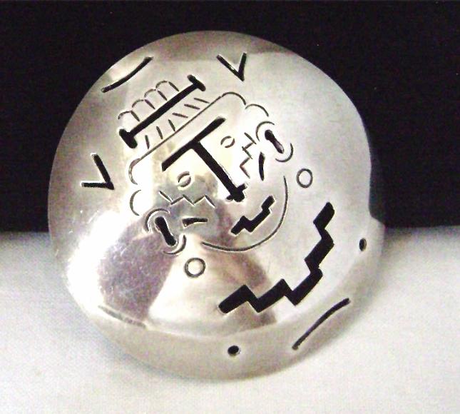 Vintage Sterling Mexico Aztec Brooch Mayan Face Pierced Eagle mark
