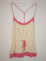 Steve Madden cream lace overlay front pink cami sleep top racerback-M-NW... - $12.16