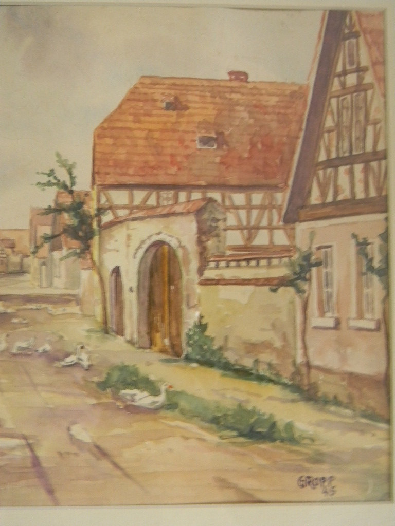 Vintage 1945 Watercolor Village Scene by Artist Groppe