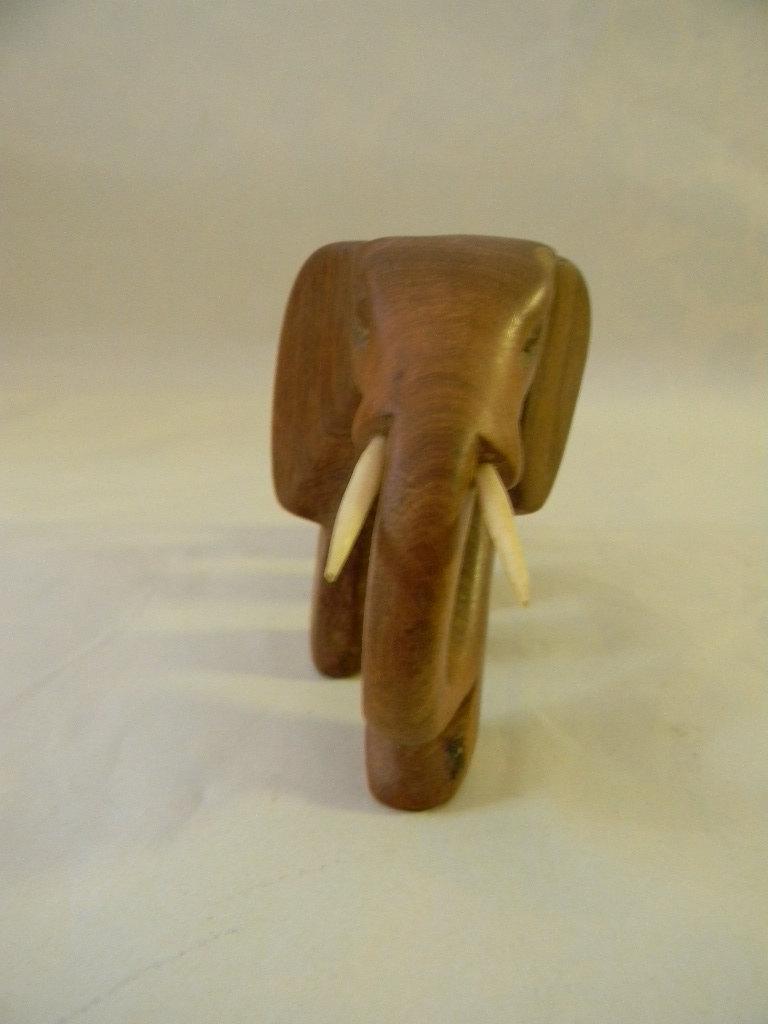Vintage Wood Carved Elephant Carving