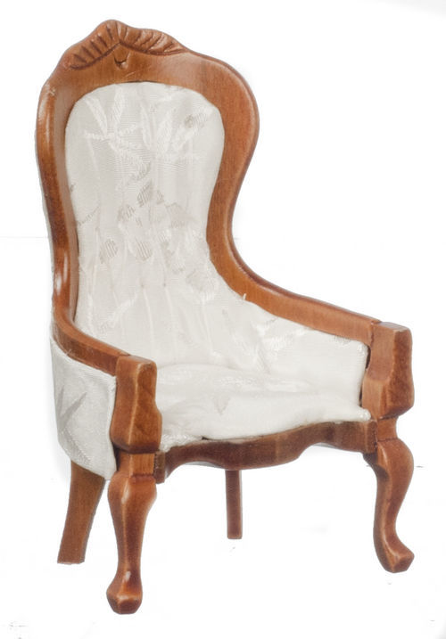 DOLLHOUSE MINIATURES WALNUT AND WHITE VICTORIAN GENTLEMAN'S CHAIR #T6418