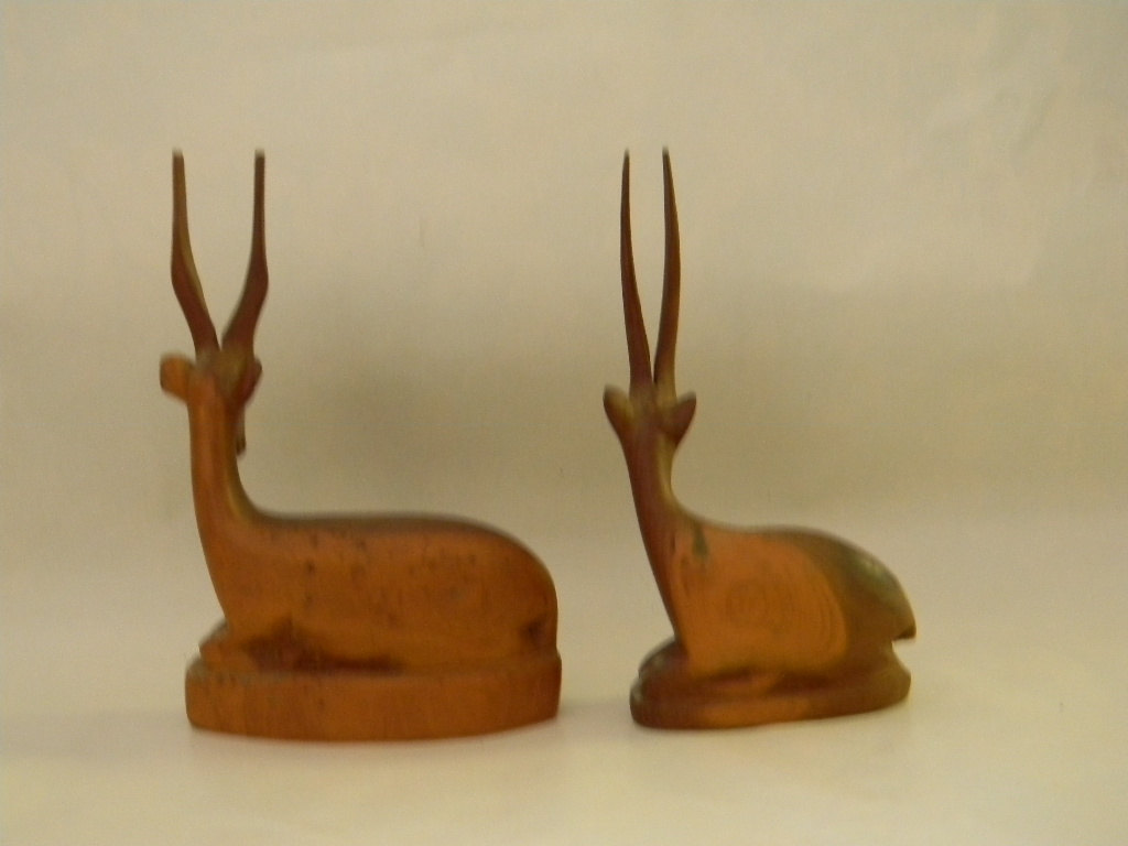 Vintage Pair of Hand Carved Wood Carvings Gazelle / Antelope