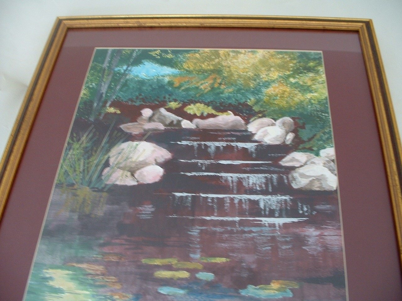 Vintage Watercolor Peaceful Forest Waterfall Painting by Artist DiCosimo